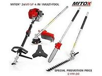 Mitox 26mt multi tool long reach hedge clipper chainsaw strimmer