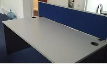 2 large grey plastic desks, 160 (l) x 80 (w) x 74 (h)‎, some with blue divider screens‎