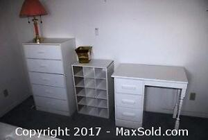 2White dressers, matching desk and shoe cabinet