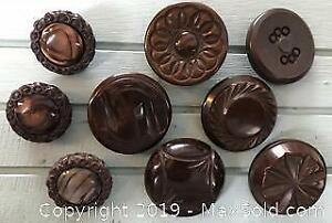Lot of 9 Vintage Brown Coat Buttons