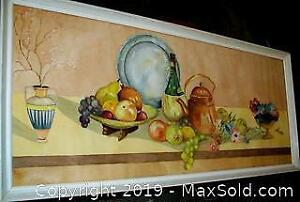 1944 Wood Frame Still Life Watercolour Painting Signed FW