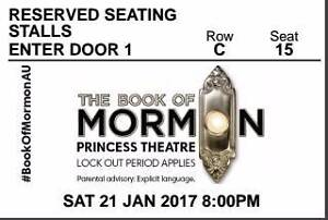 2 x Book of Mormon tickets - TONIGHT (21/1) Stalls Row C Carlton Melbourne City Preview