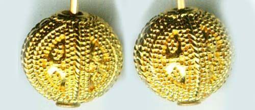 Antique 22kt Gold Russian Ancient Near East Minoan Granulation Style Earrings