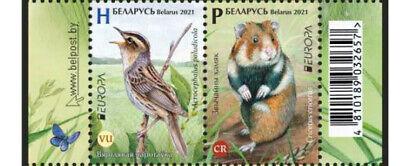 Belarus 2021 EUROPA Endangered national wildlife bird hamster 2 stamps pair