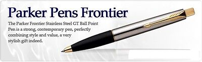 Parker Frontier Jotter Steel GT Gold Trim Ball Point Pen Blue Ink Fine Tip New
