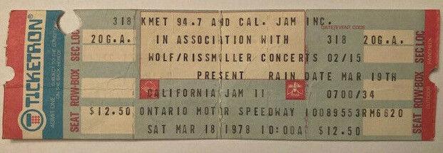 CALIFORNIA JAM 2 Original 1978 FULL CONCERT TICKET Aerosmith Foreigner