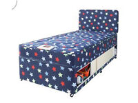 New Boys Divan single bed with storage, headboard and spring mattress - 2 matching beds available