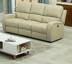 New Reclining Sofa in a Cream Get Leather