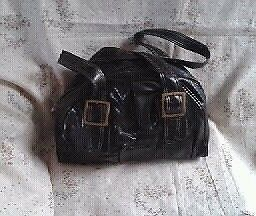 Ladies BLACK SOFT FAUX LEATHER, 'F&F' HANDBAG.