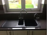 Black/grey Astracast 1.5 bowl sink with left hand drainer (taps not included)