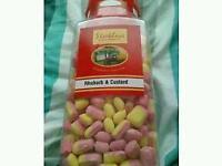 Rhubarb and custard sweets