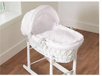 White Moses basket. With rocking stand