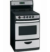 Cuisinière électrique GE 24 po, Tiroirs réchaud, 3.0 pi. cu., Nettoyage Standard, Couleur Acier Inox, (SKU:1001)