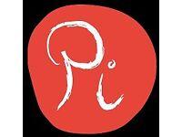 "Waiting Staff Pi we serve fresh, seasonal 20"" artisan premium pizza, organic wines and cocktails"