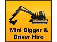 Mini digger. Mini digger hire with driver