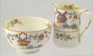 ROYAL WORCESTER PEKIN INIDIVIDUAL MINI CREAM JUG 5 oz & SUGAR BOWL BUTTERFLIES