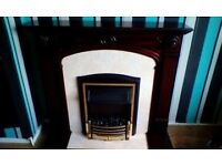mahogany tiled fireplace & coal affect electric fire good cond
