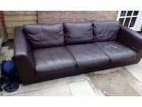 Seal designer quality choc brown leather sofa vgc £75
