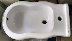 3 bidet and 19 basin with full pedestal and ceramic tiles