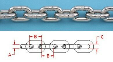 """75 ft STAINLESS STEEL ANCHOR CHAIN 316L 1/4"""" DIN 766 BBB Repl Suncor S0601-0007"""
