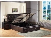 A SINGLE/DOUBLE/KING SIZE DIAMANTE LEATHER OTTOMAN STORAGE BED FRAME AND MATTRESSES