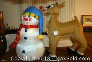 Large blow up Reindeer and Snow man