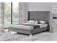 NEW Double/King Chenille Fabric beds - Silver