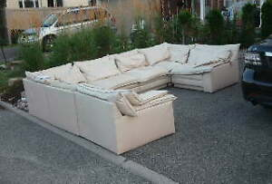 FREE extremely used leather sectional sofa for your cottage