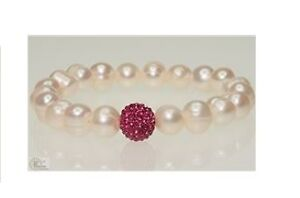 Freshwater Pearl & Cubic Bracelet with COA