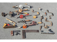 Vintage tools, breast drills, braces, planes, vices hand drills , set squares,toolbox etc 21 items