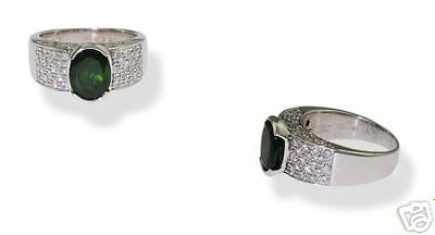 Estate 18K WG Ladies Tsavorite Diamond Ring