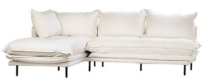 "98"" Alceo L-shape Sofa Black Iron Legs White Linen Slipcover Seat Height 19"", used for sale  Shipping to India"