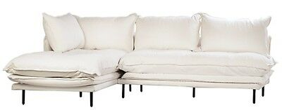 "98"" Alceo L-shape Sofa Black Iron Legs White Linen Slipcover Seat Height 19"" for sale  Shipping to India"