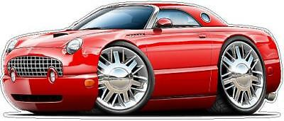 2002 Ford Thunderbird Cartoon Car Wall Decal Graphics 3 Sizes Any Color  ()