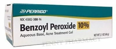 Benzoyl Peroxide 10% Acne GEL  Aqueous 2.1oz ( 60 gm ) PERRIGO - PHARMACY GRADE!