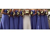 Lupin blue bridesmaid dresses