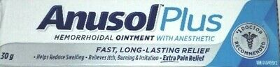 ANUSOL PLUS Hemorrhoidal Ointment Treatment 30 g tube - FREE SHIPPING (0036) Hemorrhoidal Ointment Tube