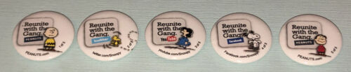 Snoopy/Peanuts 5 Buttons/Pinback Set SDCC 2011 Reunite With The Gang Lucy Linus
