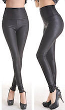 LADIES SEXY BLACK FAUX LEATHER LEGGINGS WET LOOK HIGH WAISTED