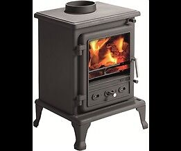 CAST IRON DEFRA MULTI FUEL WOOD BURNING STOVE WITH FLUE LINER,COWL,ADAPTER,FLUE PIPE £699