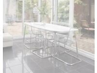 Ikea 6 Seater Dining Table, White Chrome Legs, Curved Corners