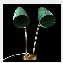 Vintage 1950's double green fibreglass shade w/ brass table lamp