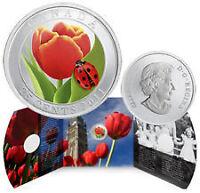 Pièce de 25 cents colorée tulipe et coccinelle 2011.  Pièce très