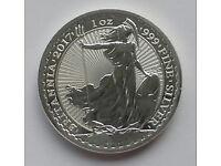 Brand New Uncirculated 2017 Britannia '999' fine silver 1oz troy bullion coin - RRP £25