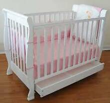 white wooden cot with drawer Campsie Canterbury Area Preview