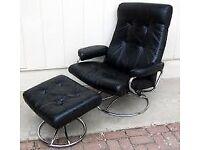 Ekornes Stressless Black Leather Recliner Antique Chair