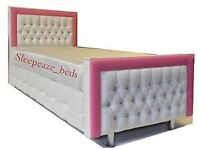 Gorgeous faux leather pink and white diamanté bed