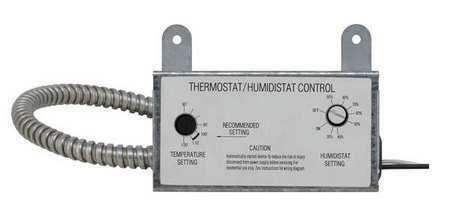 Dayton 10N203 Attic Fan Thermostat/Humidistat, Close On Rise, Spst