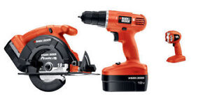 Preowned Black and Decker 18V Cordless Drill,Circular Saw,Light