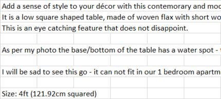 TABLE (UNIQUE)